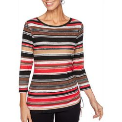 Ruby Road Favorites Womens Horizontal Striped Ruched Top