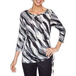 Ruby Road Favorites Womens Zebra Print Ruched Top