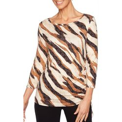 Ruby Road Favorites Womens Zebra Print Ruched Top
