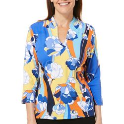 Ruby Road Favorites Womens Must Haves Floral Embellished Top