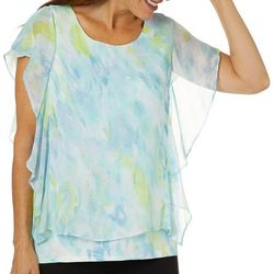 Ruby Road Favorites Womens Watercolor Sheer Overlay Top