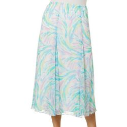 Ruby Road Favorites Womens Swirled Paint Midi Skirt