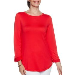 Ruby Road Favorites Womens Solid Roll Tab Sleeve Top