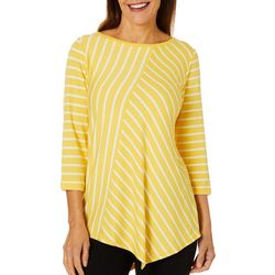 Ruby Road Favorites Womens Asymmetrical Striped Top