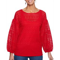 Ruby Road Womens Geometric Lace Layered Top