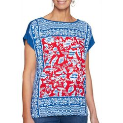 Ruby Road Favorites Womens Mixed Floral Boat Neck Top