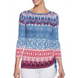 Ruby Road Favorites Womens Ruched Geo Stripe Print Top