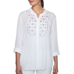 Ruby Road Favorites Womens Embellished Button Down Gauze Top