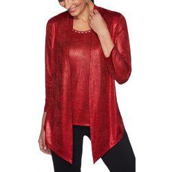Ruby Road Favorites Womens Foil Embellished Duet Top