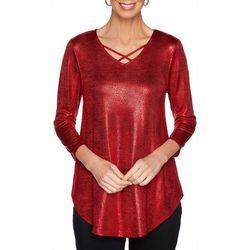 Ruby Road Favorites Womens Crisscross Foil Top