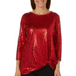 Ruby Road Favorites Womens Foil Leopard Print Top
