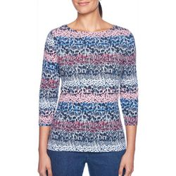 Ruby Road Favorites Womens Embellished Abstract Print Top