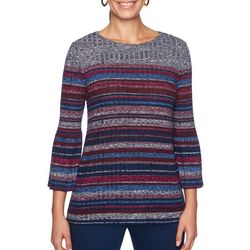 Ruby Road Favorites Womens Striped Bell Sleeve Sweater