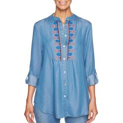 Ruby Road Favorites Womens Embroidered Chambray Top