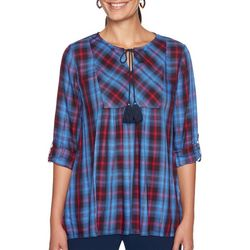 Ruby Road Favorites Womens Metallic Plaid Tassel Top