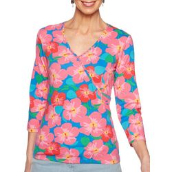 Ruby Road Favorites Petite Tropical Floral Faux Wrap Top