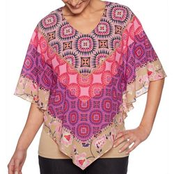 Ruby Road Favorites Womens Mixed Geometric Print Poncho Top