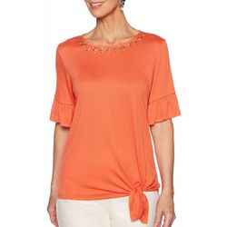 Ruby Road Favorites Womens Solid Side Tie Gauze Top
