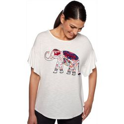 Ruby Road Favorites Womens Embroidered Elephant Top