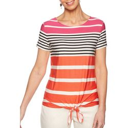 Ruby Road Favorites Womens Striped Tie Front Top