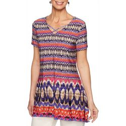 Ruby Road Favorites Womens Geometric Stripe V-Neck Top