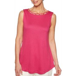Ruby Road Favorites Womens Embellished Neckline Gauze Top
