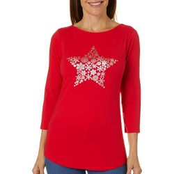Ruby Road Favorites Womens Foil Snowflake Embellished Top