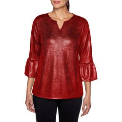 Ruby Road Favorites Womens Foil Solid Bell Sleeve Top