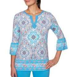 Ruby Road Favorites Womens Tile Print Keyhole Neck Top