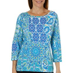 Ruby Road Favorites Womens Jeweled Paisley Medallion Top