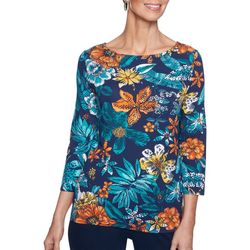 Ruby Road Favorites Womens Embellished Tropical Top