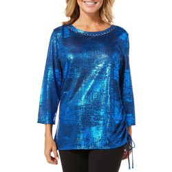 Ruby Road Favorites Womens Metallic Foil Side Ruched Top
