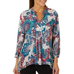 Ruby Road Favorites Womens Whimsical Floral Crepe Top