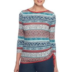 Ruby Road Favorites Womens Boho Striped Jewel Neck Top