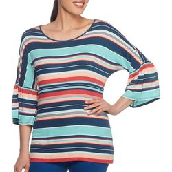 Ruby Road Favorites Womens Colorful Striped Bell Sleeve Top