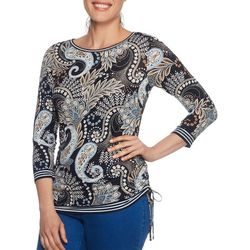 Ruby Road Favorites Womens Side Ruched Floral Paisley Top