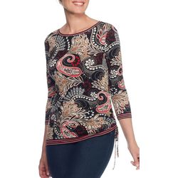 Ruby Road Favorites Womens Floral Paisley Side Ruched Top