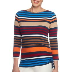 Ruby Road Favorites Womens Embellished Colorful Striped Top