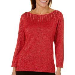 Ruby Road Favorites Womens Embellished Metallic Sweater