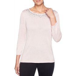 Ruby Road Favorites Womens Jeweled Metallic Sweater