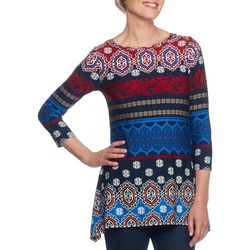 Ruby Road Favorites Womens Damask Print Top