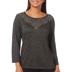 Ruby Road Favorites Womens Metallic Scroll Neck Sweater