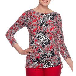 Ruby Road Favorites Womens Embellished Leafy Floral Top