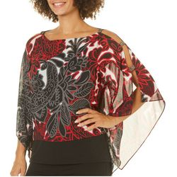Ruby Road Favorites Womens Ladder Sleeve Poncho Top