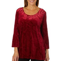 Ruby Road Favorites Womens Paisley Bell Sleeve Velour Top
