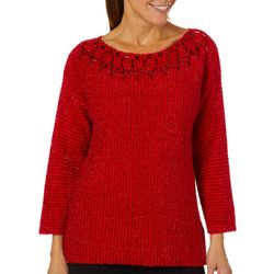 Ruby Road Favorites Womens Glitzy Eyelash Sweater