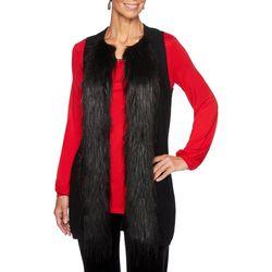 Ruby Road Favorites Womens Velvet Crush Fur Trim Vest