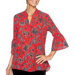 Ruby Road Favorites Womens Metallic Floral Button Down Top