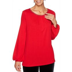 Ruby Road Favorites Womens Embellished Balloon Sleeve Top