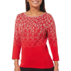 Ruby Road Favorites Womens Embellished Snake Print Sweater